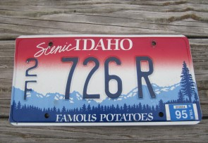 Idaho Scenic  Famous Potatoes Trailer License Plate 1995