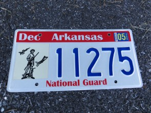 Arkansas Natonal Guard License Plate 2005