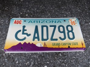Arizona Disabled Wheel Chair Sunset Cactus License Plate 2005 Grand Canyon State