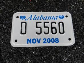 Alabama Dealer Motorcycle License Plate 2008