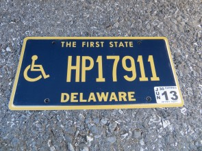 Delaware Disabled Handicapped License Plate 2013 The First State