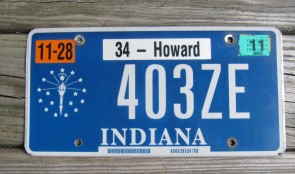 Indiana Blue White License Plate 2011