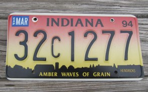Indiana Amber Waves of Grain License Plate 1994 Hendricks County 32 C 1277