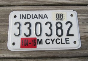 Indiana Motorcycle License Plate 2008