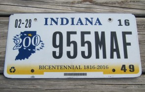 Indiana Bicentennial License Plate 2016