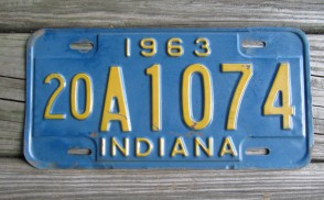 Indiana Blue Yellow License Plate 1963