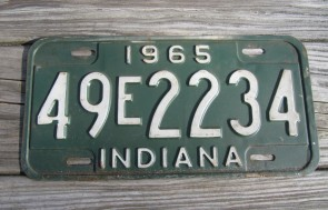 Indiana Green White License Plate 1965 49 E 2234