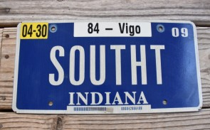 Indiana Blue White License Plate 2009