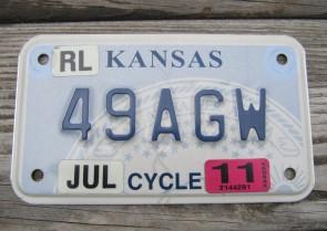 Kansas Motorcycle State Seal License Plate 2011