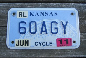 Kansas Motorcycle State Seal License Plate 2014