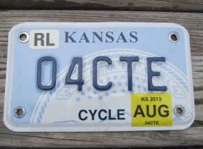 Kansas Motorcycle State Seal License Plate 2013