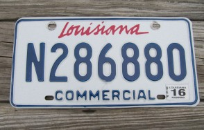 Louisiana Commercial License Plate 2016