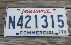 Louisiana Commercial License Plate 2016 N421315
