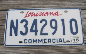 Louisiana Commercial License Plate 2015
