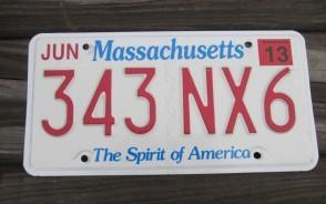 Massachusetts The Spirit of America License Plate 2003 343 NX6