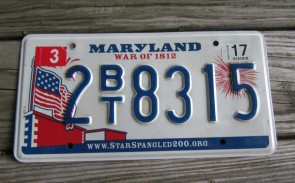 Maryland Black White License Plate