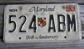 Maryland 350th Anniversary License Plate