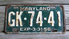 Maryland Green White License Plate 1958