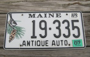 Maine Chickadee Antique Auto License Plate 2007
