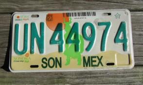 Mexico Sun Desert Sonora License Plate 2000