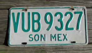 Mexico Green White Sonora License Plate 1990's