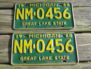 Michigan Blue White License Plate 2000 QBM 640 Great Lakes