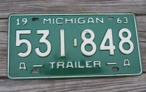 Michigan Trailer License Plate 1963 531 848