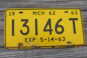 Michigan Black Yellow Truck License Plate 1963 13146T