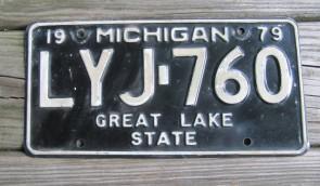 Michigan Black White License Plate 1979 Great Lake State