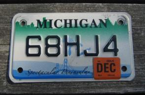 Michigan Blue White Trailer License Plate 1997 Q09458