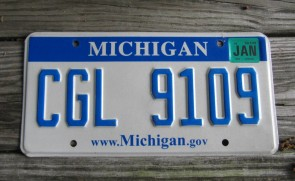 Michigan Pure Blue White License Plate 2014 DAJ 3660