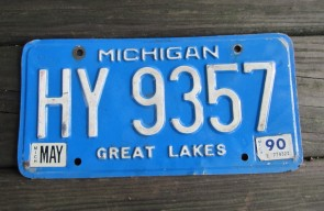 Michigan Blue White License Plate 1990 Great Lakes
