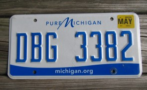 Michigan Blue White License Plate 2016