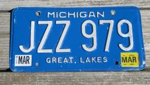Michigan Blue White License Plate 2014 BTU 1134
