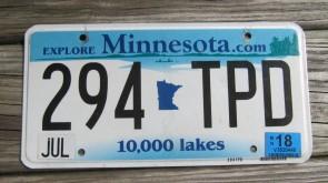 Minnesota Explore Minnesota 10,000 Lakes License Plate 1997
