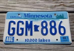 Minnesota Explore Minnesota 10,000 Lakes License Plate 2003
