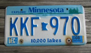 Minnesota Red White License Plate