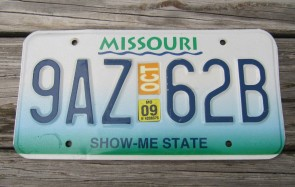 Missouri River License Plate 2009 Show Me State