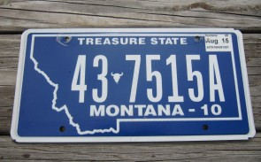 Montana Blue Treasure State License Plate 2015