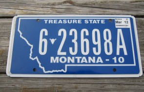 Montana Blue Treasure State License Plate 2012
