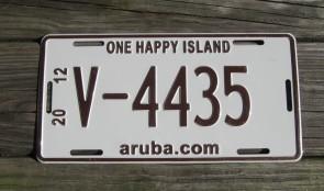 Aruba Brown White License Plate 2012