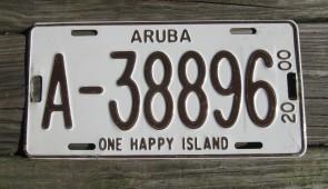 Aruba Brown White License Plate 2000