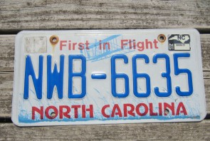 North Carolina Red Letters License Plate 1989 YXN 856