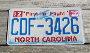 North Carolina Red Letters License Plate First In Flight 2015