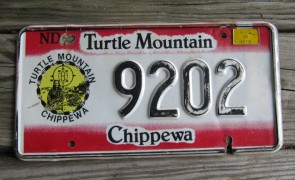 North Dakota Turtle Mountain Chippewa Indian Tripe License Plate 1998