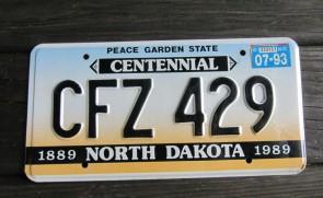 North Dakota Peace Garden State License Plate 1983 AWD 742