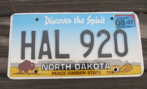 North Dakota Buffalo Discover The Spirit License Plate 2007 HAL 920