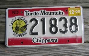 North Dakota Turtle Mountain Chippewa Indian Tripe License Plate 2005