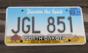 North Dakota Buffalo Discover The Spirit License Plate 2011 JGL 851