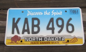 North Dakota Buffalo Discover The Spirit License Plate 2014 KAB 496